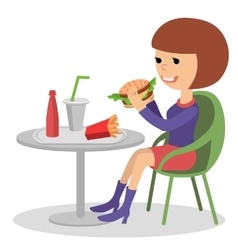 Girl eating fast food of a vector