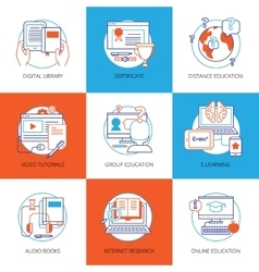 Icons set on theme online education vector