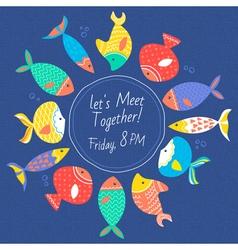 Invitation card with multicolored sea fishes vector