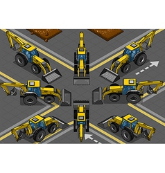 Isometric Yellow Backhoe in Eight Positions vector image vector image