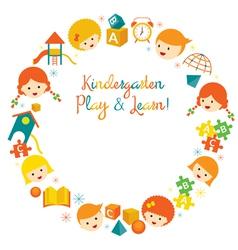 Kindergarten Preschool Kids Wreath vector image