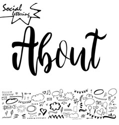 lettering and symbols on social media element vector image vector image