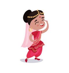 little girl wearing sari dress national costume of vector image vector image
