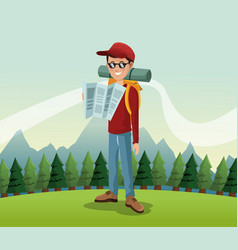Man hiking nature excursion backpack glasses map vector