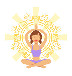 meditating yogi girl in yoga lotus pose colorful vector image