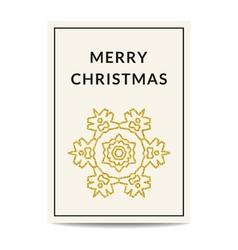 Merry christmas greeting card golden snowflake vector