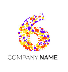 Number six logo with purple yellow red particles vector