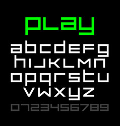 Old style video game font alphabet and numbers vector