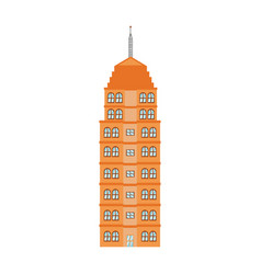 Orange building tower urban architecture vector