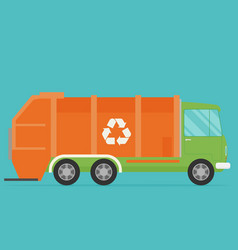 Orange garbage truck transportation flat vector