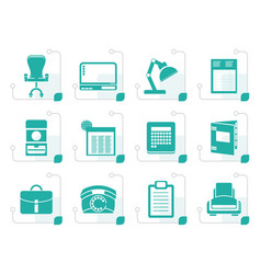 Stylized simple business office and firm icons vector