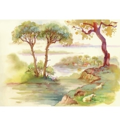 Summer landscape with goats watercolor vector