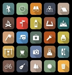 Trekking flat icons with long shadow vector