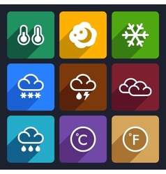Weather flat icons set 28 vector