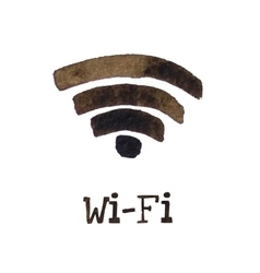 Wireless network symbol made with watercolor for vector image