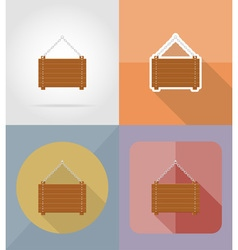 wooden board flat icons 05 vector image vector image