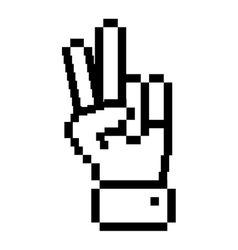 Outline pixelated hand with two fingers symbol vector