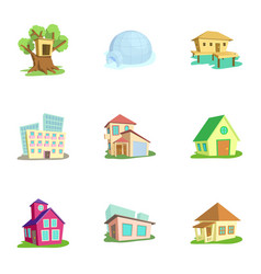 Structure icons set cartoon style vector