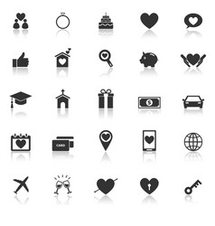Family icons with reflect on white background vector