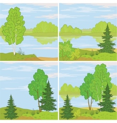 Set forest landscapes vector