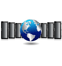 Servers with silver globe vector