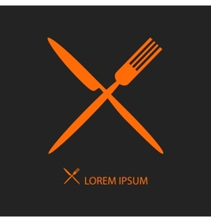 Crossed orange flatware on black vector