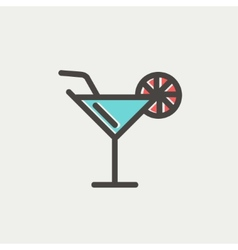 Margarita drink with lemon thin line icon vector