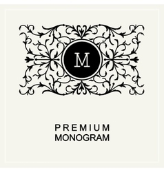 Stylish monogram  line art logo art nouveau vector