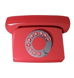 Old phone in red colors vector