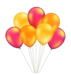 Red orange yellow balloons set isolated vector