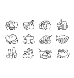 Food and drinks linear icons set vector