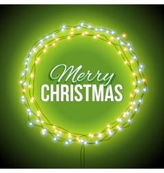 Congratulation to christmas with green lights vector