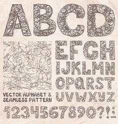 Pencil sketch alphabet and numbers hand drawing vector