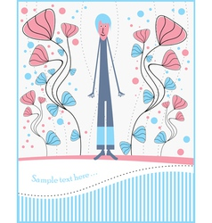 Postcard with boy and flowers vector