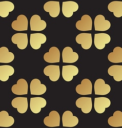 Gold seamless pattern with clover leaves the vector image