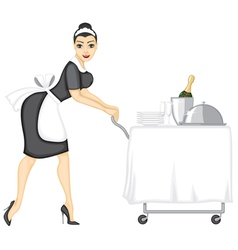 Maid brings lunch vector image