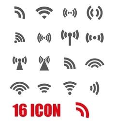 Grey wireless icons set vector