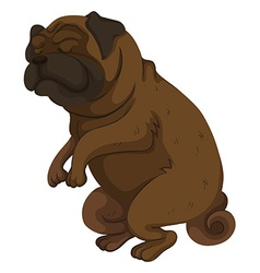 Pug dog closing its eyes vector