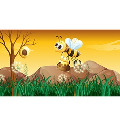 A bee flying going to the beehive vector