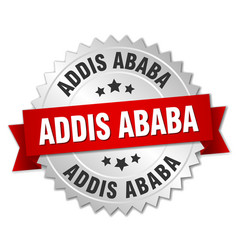 Addis ababa round silver badge with red ribbon vector
