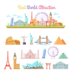 Best world attractions cartoon set vector