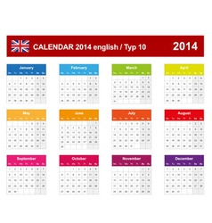 Calendar 2014 English Type 10 vector image