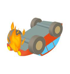 Car is on fire icon cartoon style vector