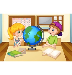 Children and globe vector image vector image