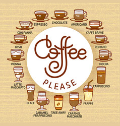 coffee please card set of cute various beverage vector image vector image
