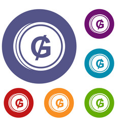 coin guarani icons set vector image vector image