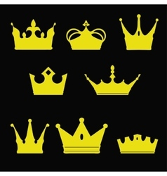 crown collection silhouette Heraldic elements set vector image vector image