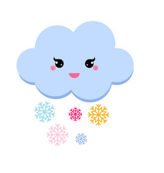 Cute cloud snowfall for kids vector