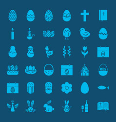 Easter glyphs website icons vector
