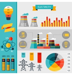 Electricity set of industry power infographic in vector